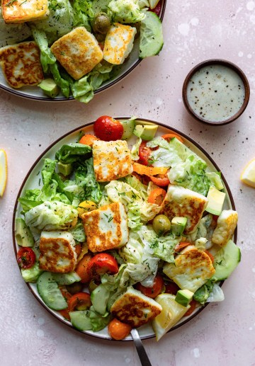 Fried Halloumi Greek Salad - Dash Of Mandi