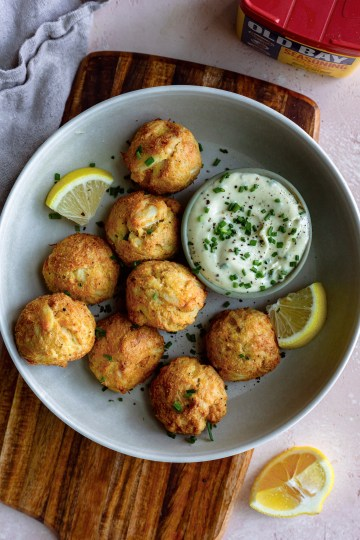Air fryer crab cake poppers