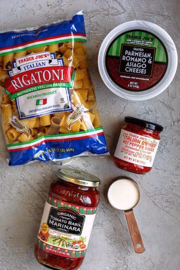 Spicy rigatoni ingredients