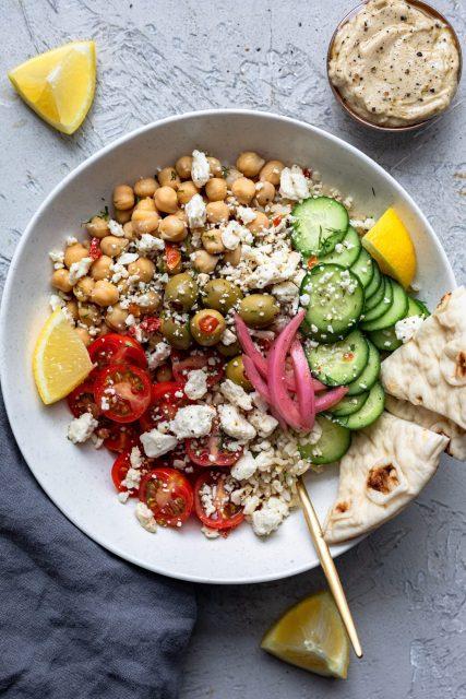 Greek Bowls With Lemon Tahini Sauce - Dash Of Mandi