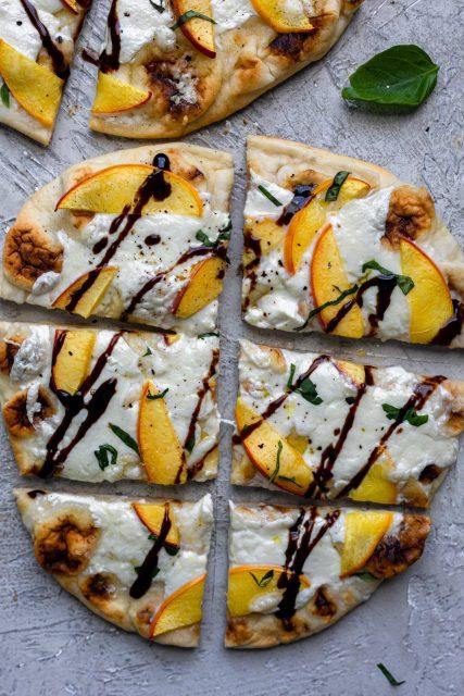 Peach Burrata Naan Flatbreads