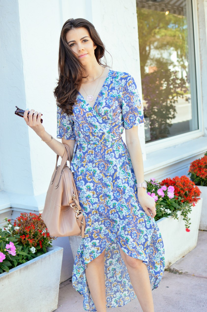 Jackie Roque wearing ASTR Floral Wrap Dress
