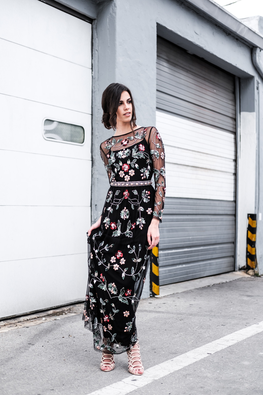 Jackie Roque wearing a Topshop Limited Edition Jewel Embellished Maxi Dress