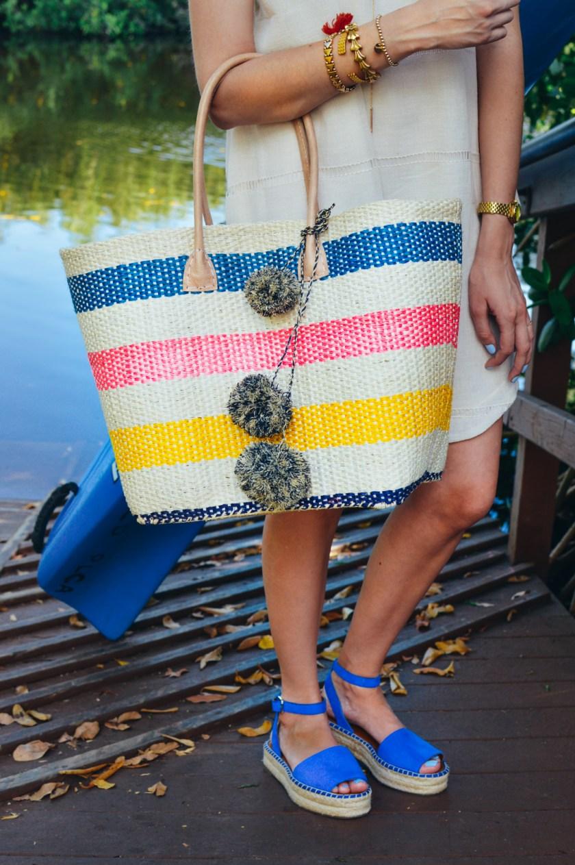 Jackie Roque wearing a Mar y Sol tote