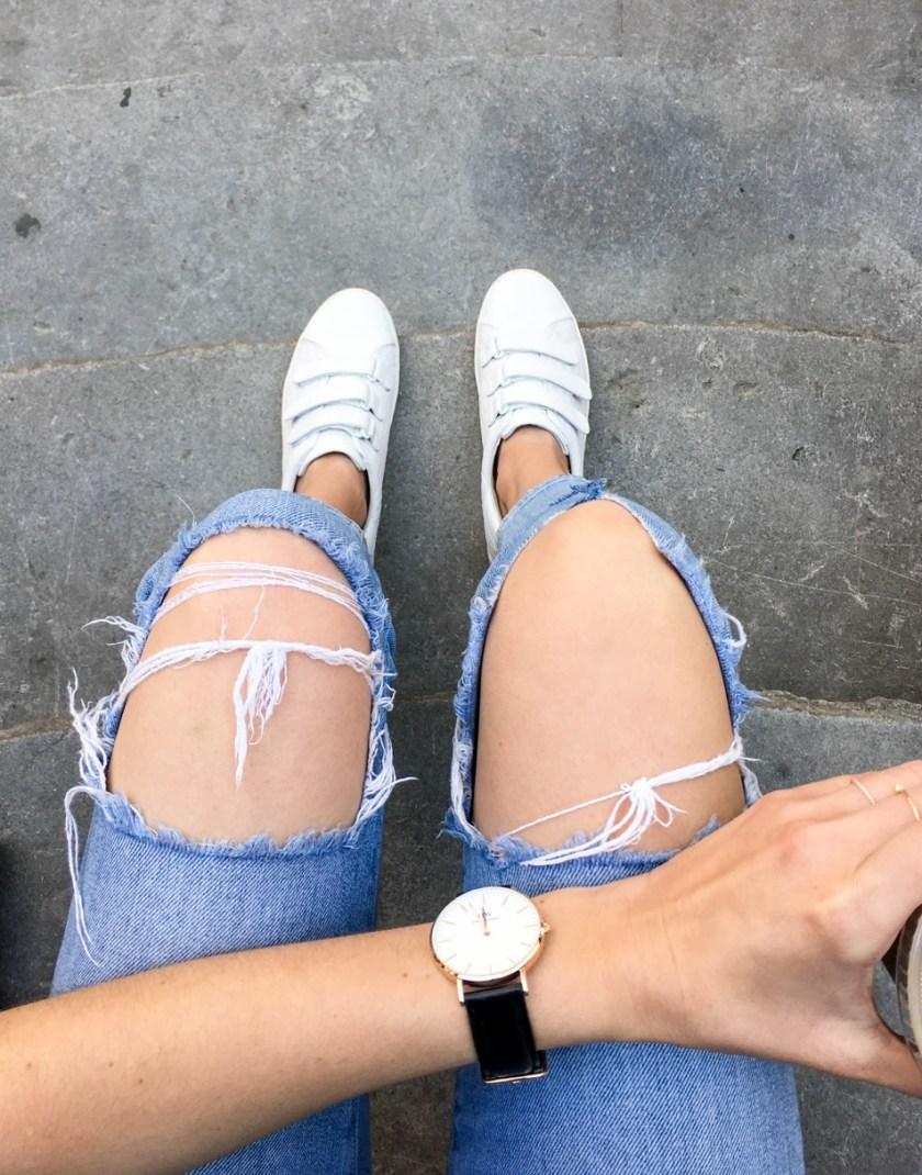 Jackie Roque wearing Michael Kors Sneakers, Daniel Wellington Watch and J Brand Jeans