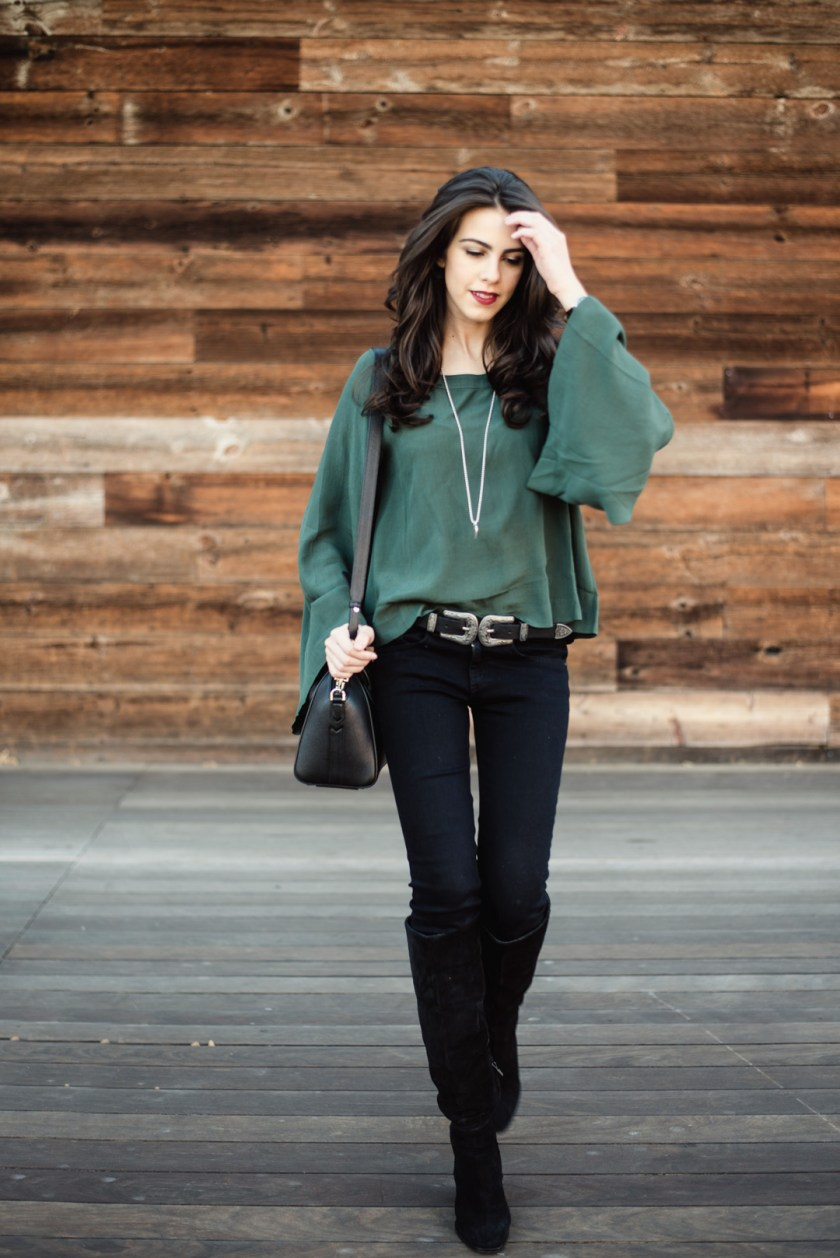 Jackie Roque styling a BP bell sleeve top, J Brand black jeans in Malibu