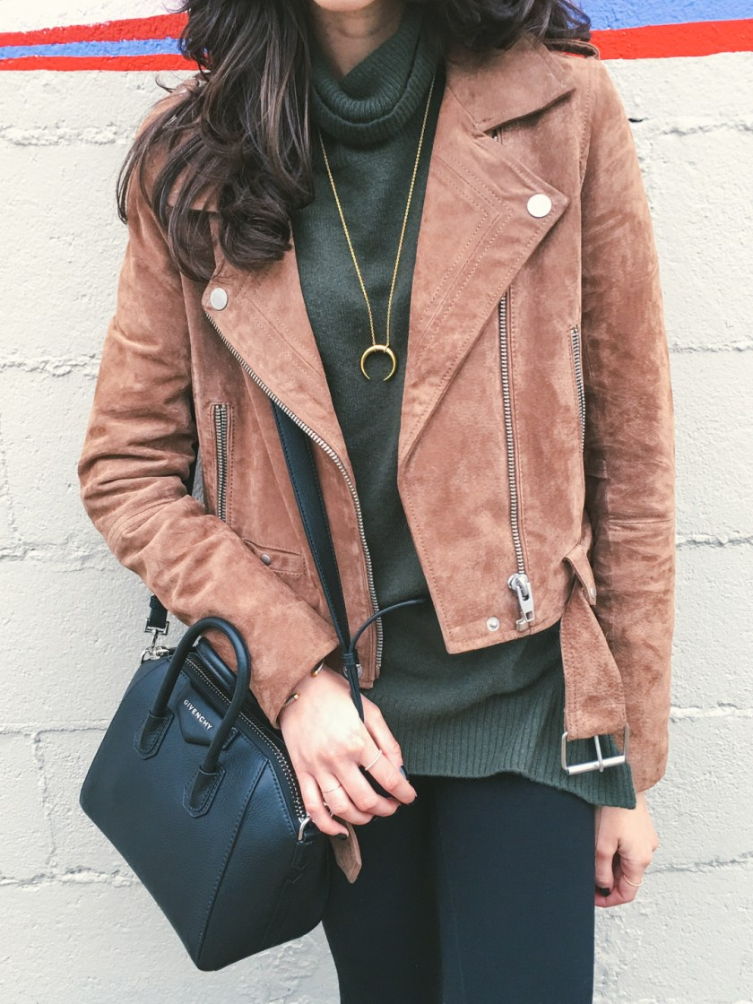 Jackie Roque styling a Blank NYC Suede Jacket with Rag and Bone Jeans, a Givenchy Mini Antigona Bag and a Gorjana necklace