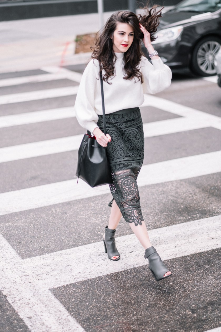 Jackie Roque styling a Topshop Lace skirt, Mansur Gavriel Bucket bag, Anthropologie sweater, Laura Mercier Velour Lipstick and Vince shoes