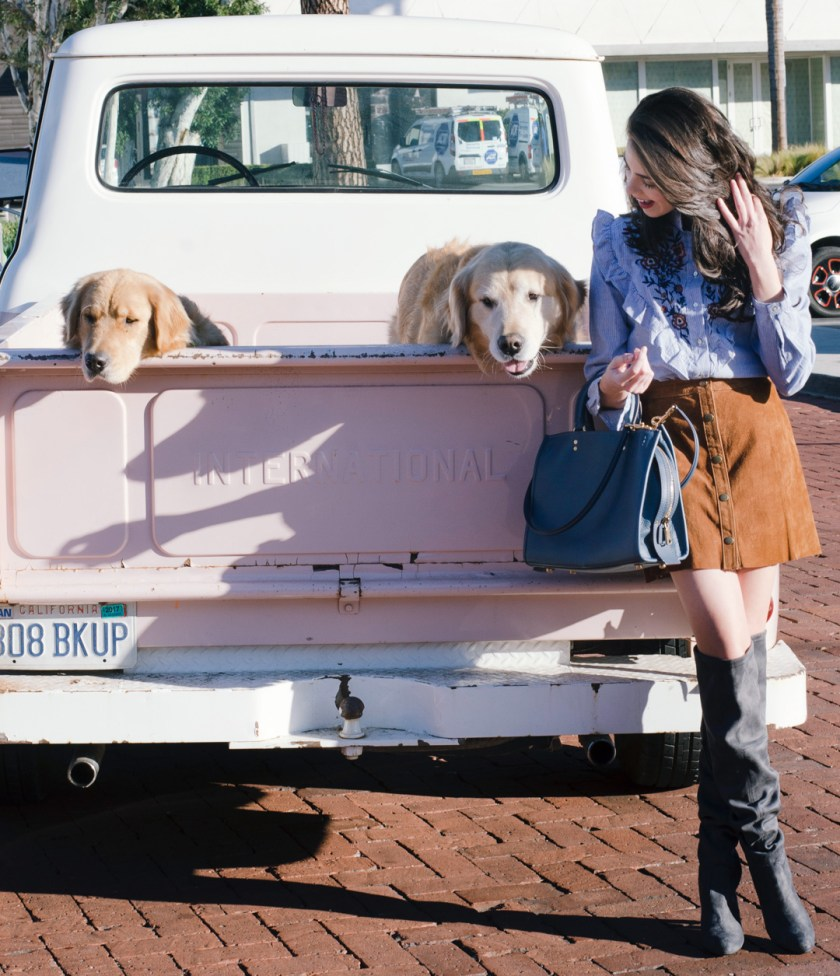 Jackie Roque styling an outfit with puppies and a pink truck in Malibu.