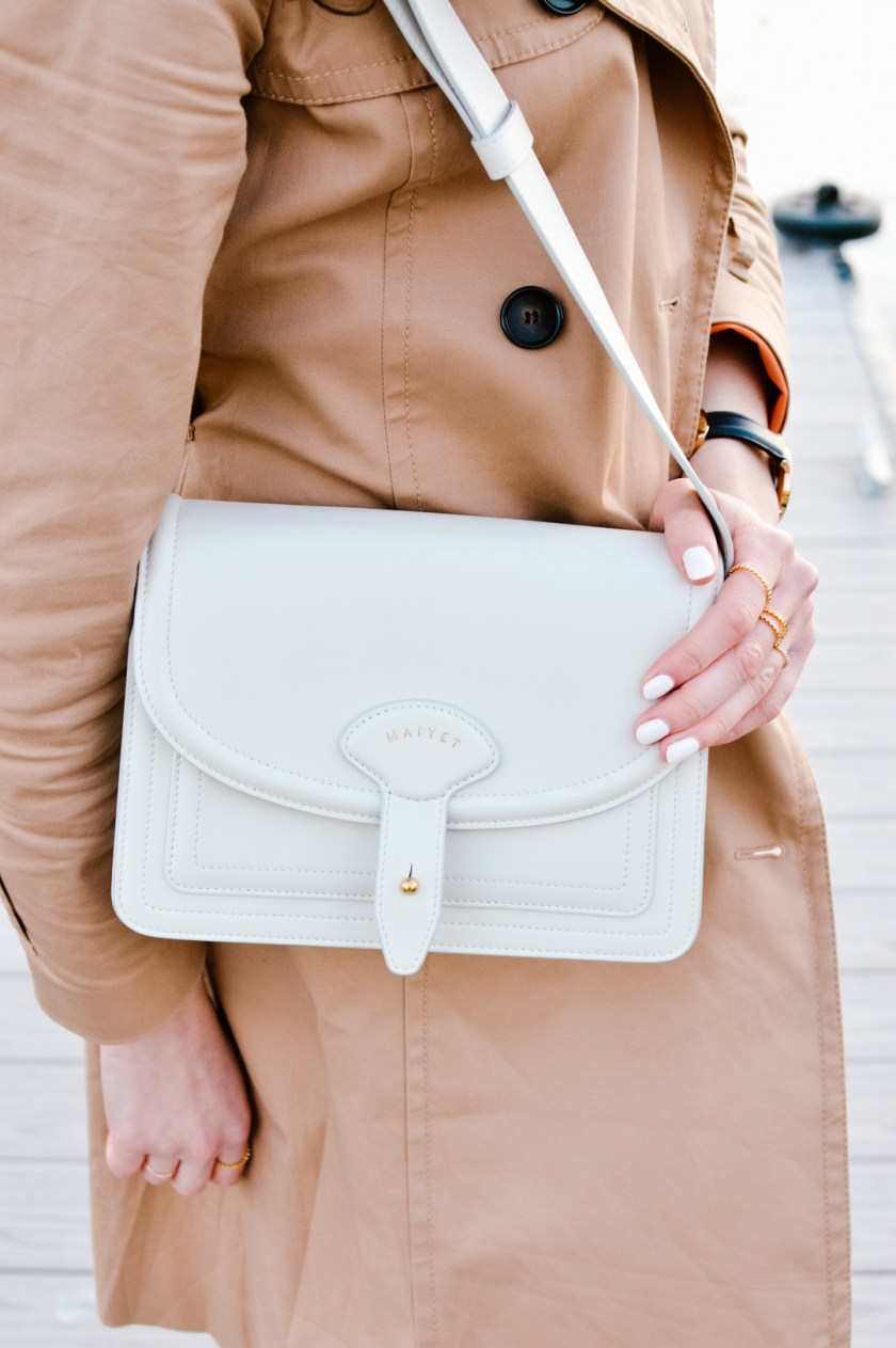Jackie Roque styling a Maiyet white satchel