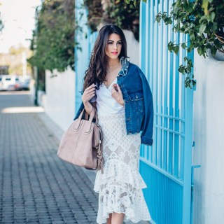 Jackie Roque styling a spring look in Malibu, wearing Trouve Surplice Cold Shoulder Bodysuit and a Market Miami denim jacket.