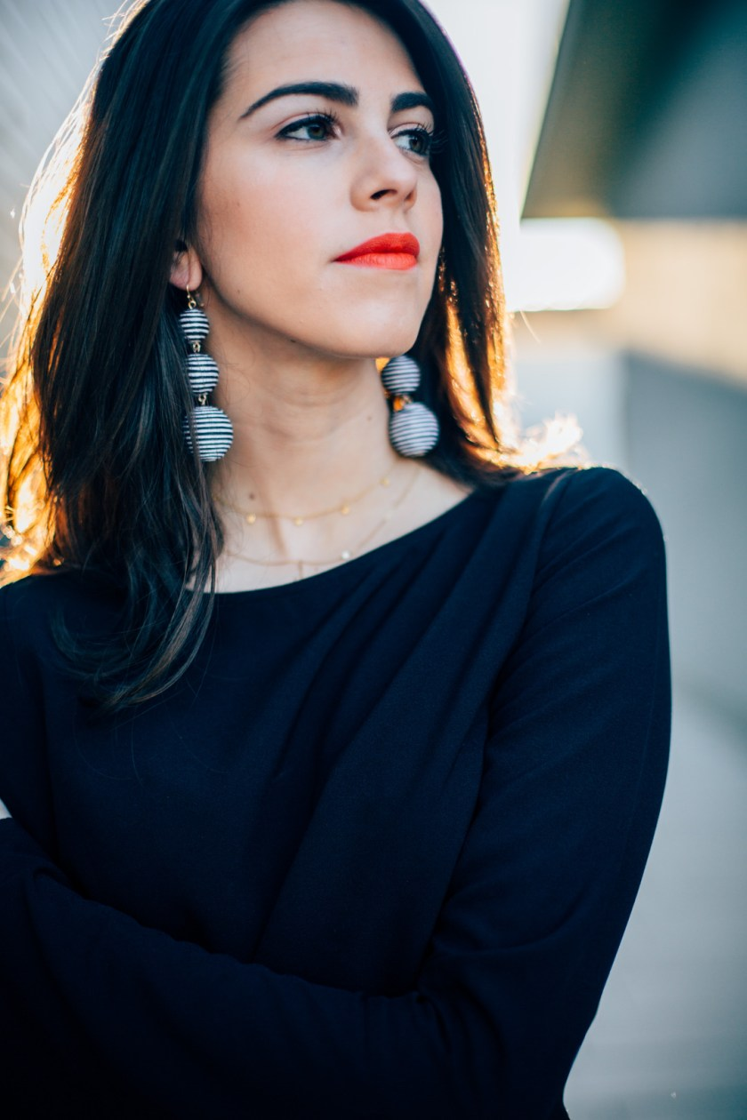 Jackie Roque styling Nars Heatwave lipstick and Bauble bar earrings