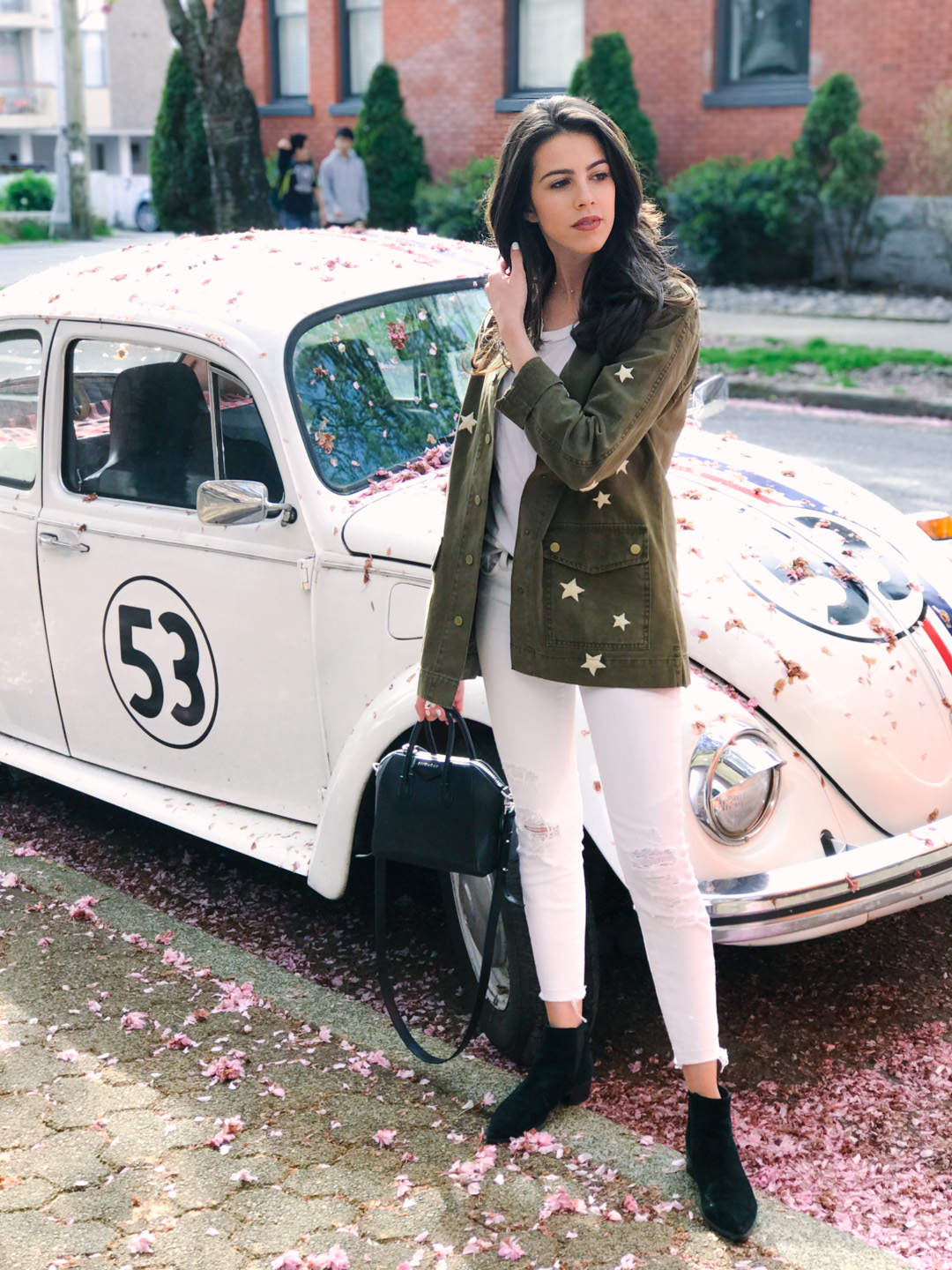 Jackie Roque styling the Sincerely Jules Bailey Stars Jacket in Vancouver.