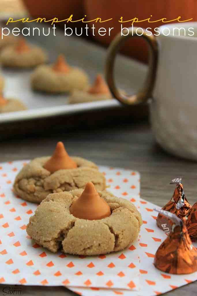 Pumpkin Spice Peanut Butter Blossoms pumpkin spice hershey kiss peanut butter cookies