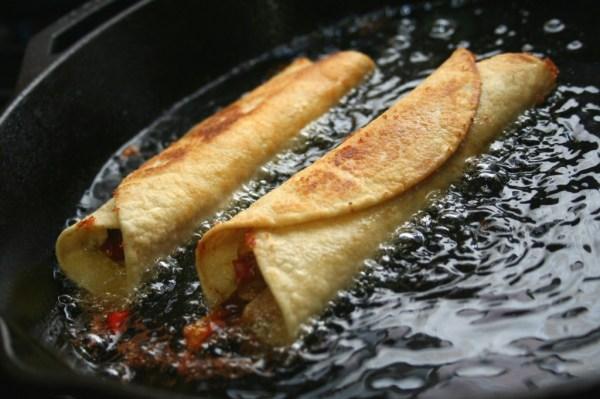 Shrimp Flautas with Roasted Tomatillo Salsa