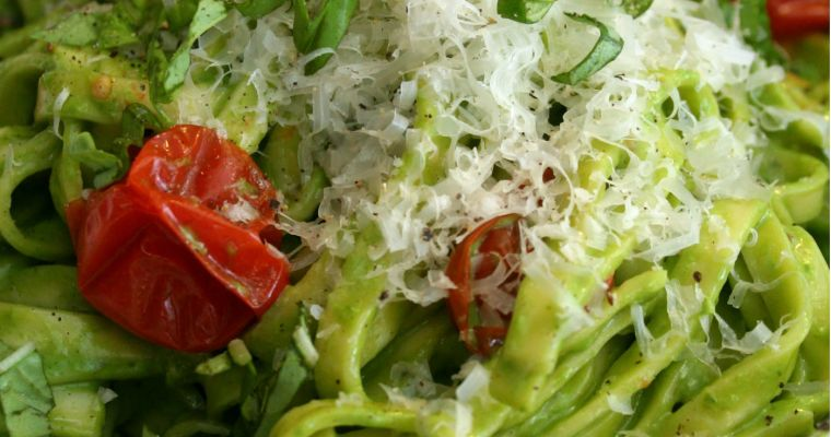Creamy Pesto Linguine with Roasted Cherry Tomatoes