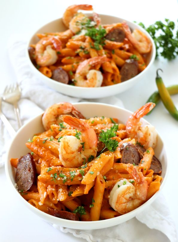 Spicy Sausage and Shrimp Pasta
