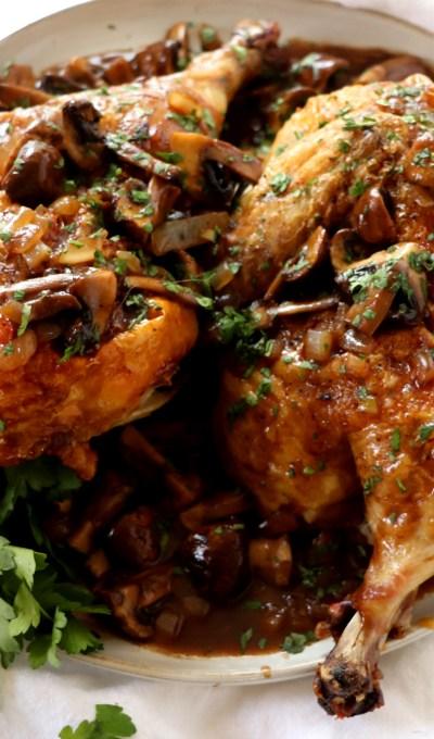 Roasted Chicken with Balsamic Mushroom Sauce