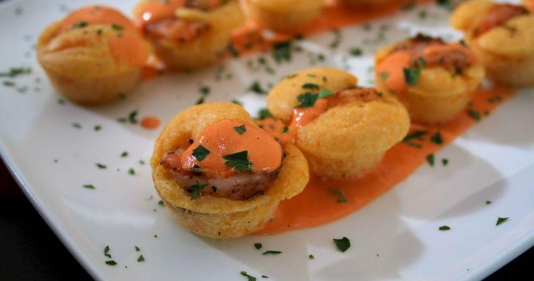 Cajun Shrimp Cornbread Bites with Roasted Red Pepper Aioli