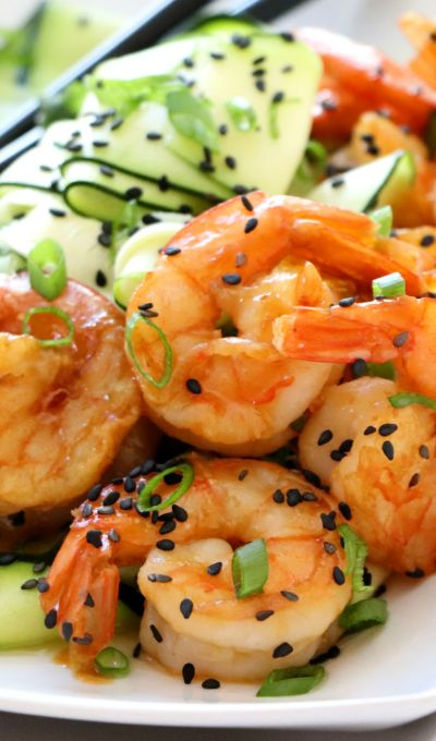Asian Shrimp with Cucumber Zucchini Salad