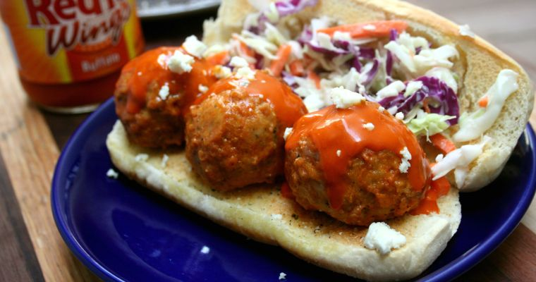 Gorgonzola Stuffed Buffalo Meatball Sandwiches