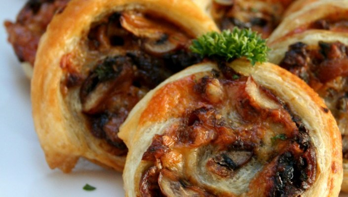 French Onion and Portobello Mushroom Pinwheels
