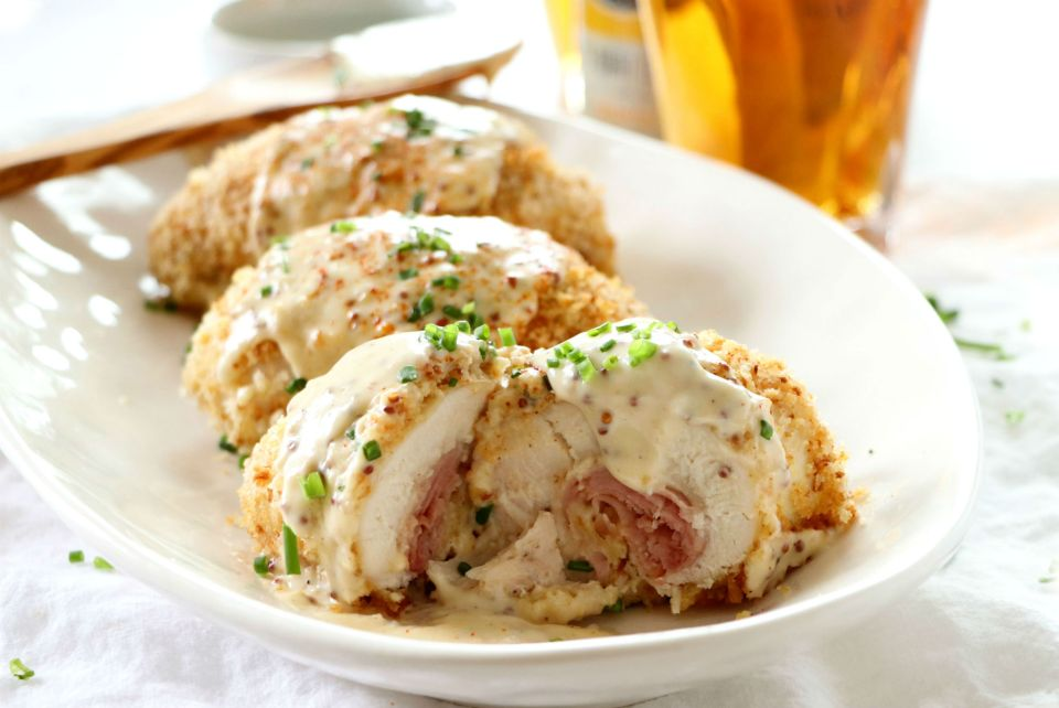 Chicken Cordon Bleu with Cheesy Beer Sauce