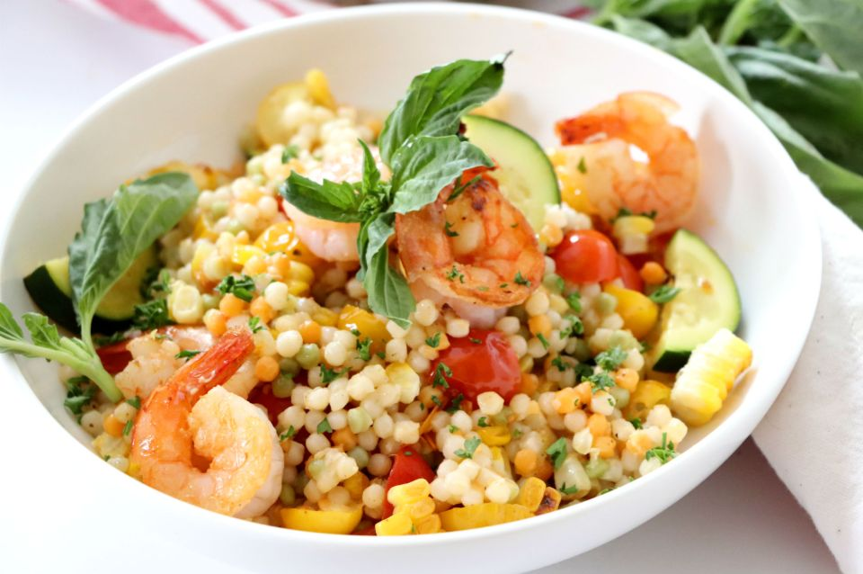 Summer Vegetable and Shrimp Pearl Couscous