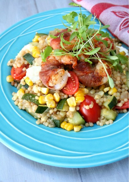 Prosciutto Wrapped Shrimp with Summer Vegetable Pearl Couscous