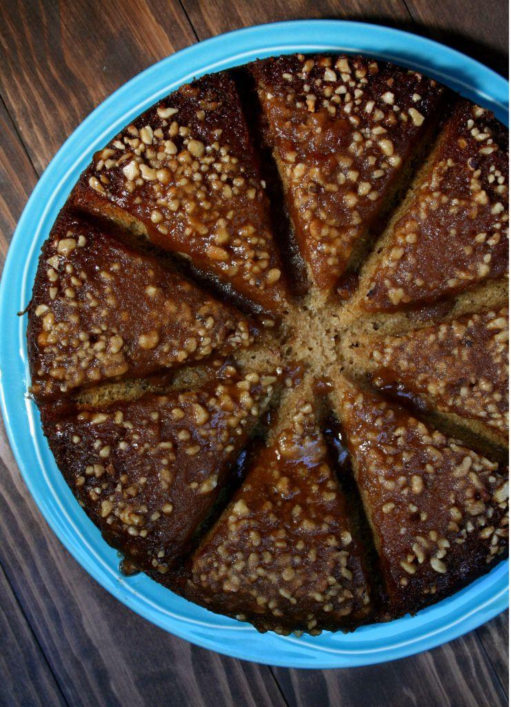 Caramel Walnut Banana Cake