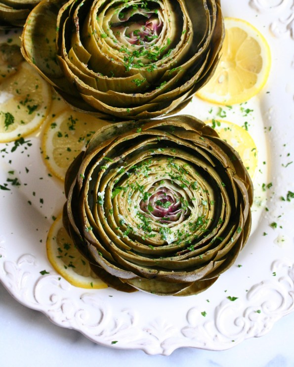 Steamed Artichokes with Lemon Parsley Butter