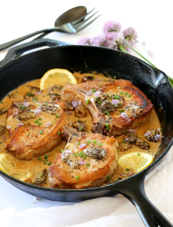 Pork Chops with Morel Mushroom Brandy Cream Sauce