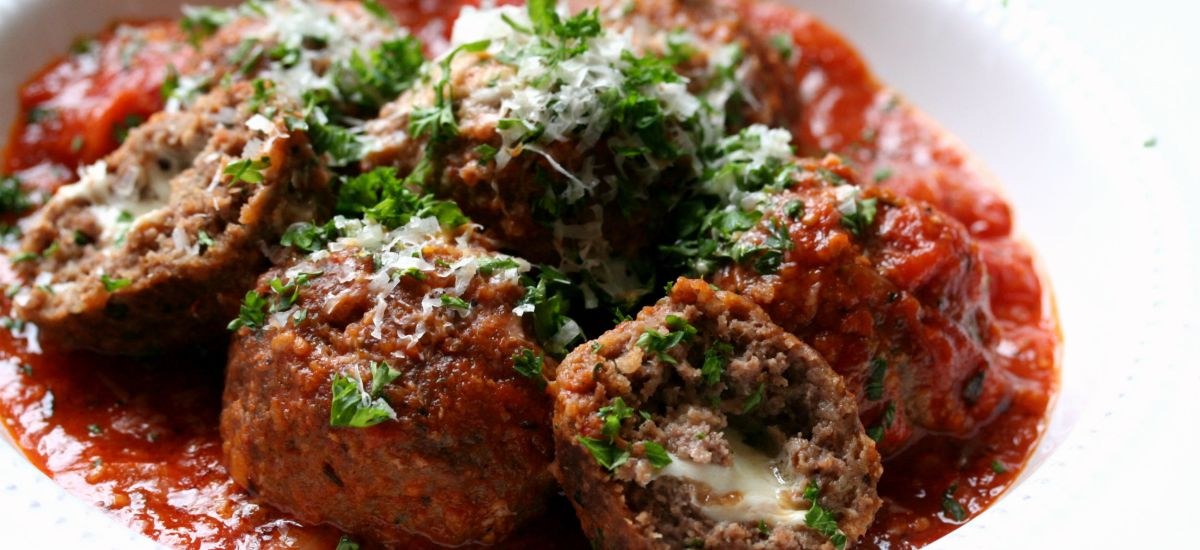 Mozzarella Stuffed Bison Meatballs