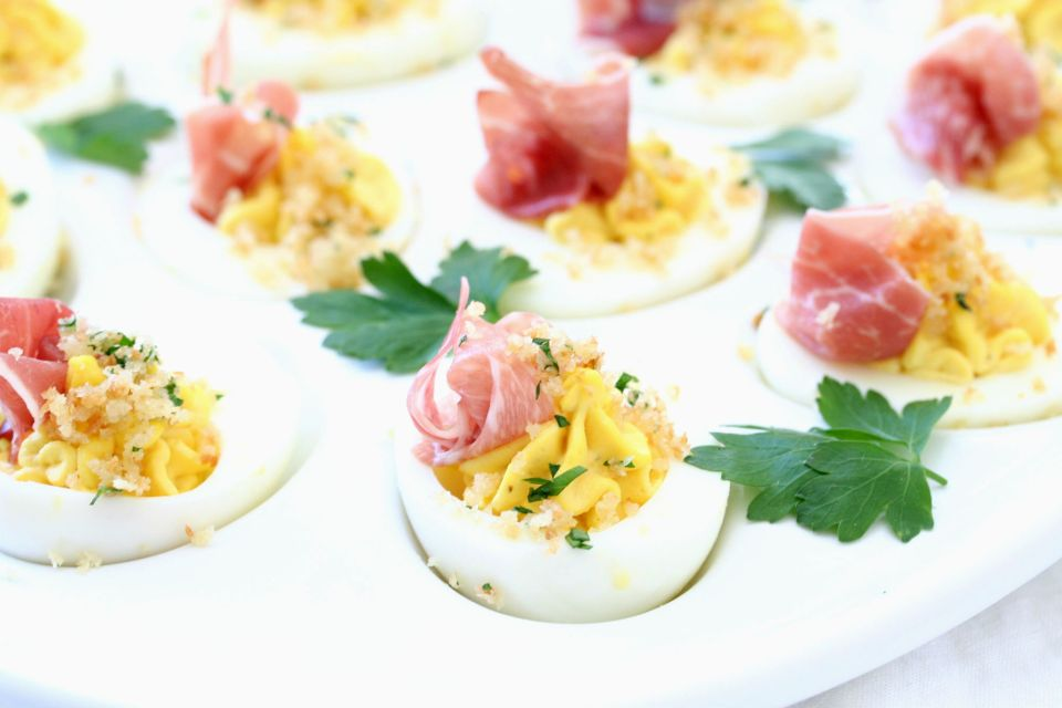 Prosciutto Topped Deviled Eggs