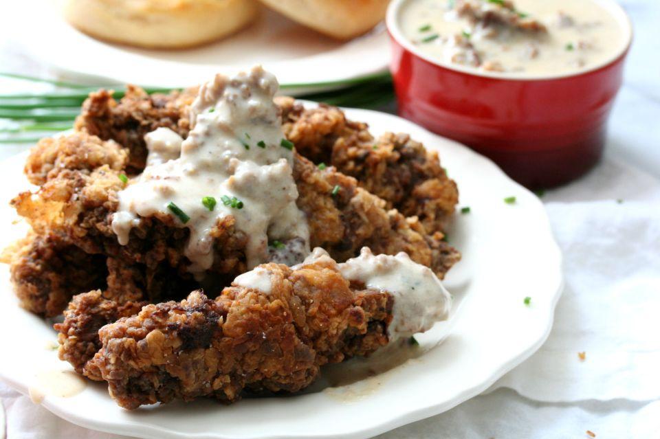 Chicken Fried Steak Tenders with Maple Sausage Gravy