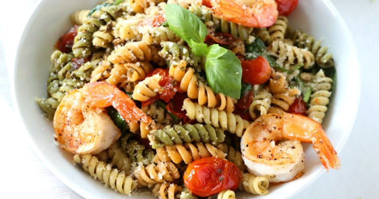Simple Shrimp Pesto Pasta