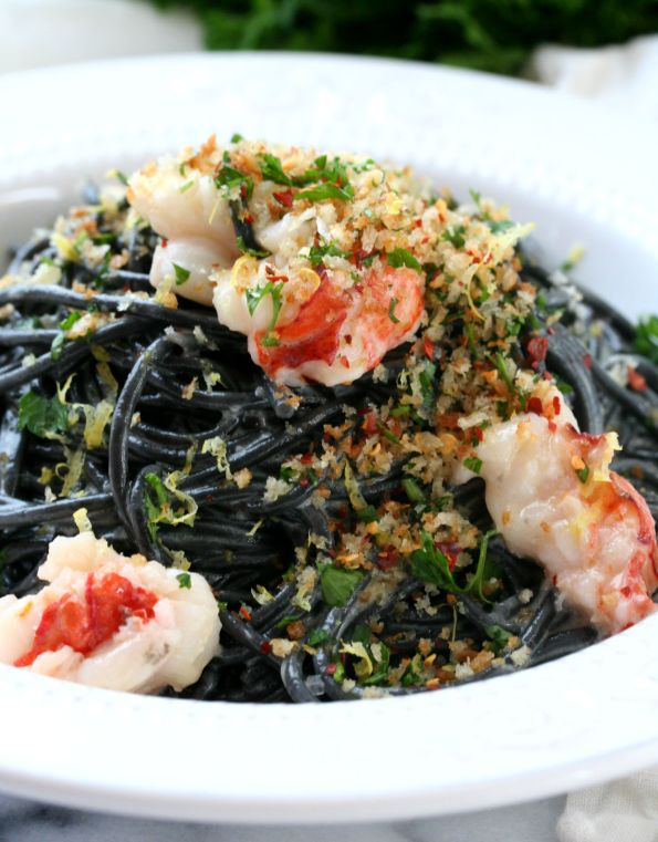 Squid Ink Pasta with Buttery Lobster
