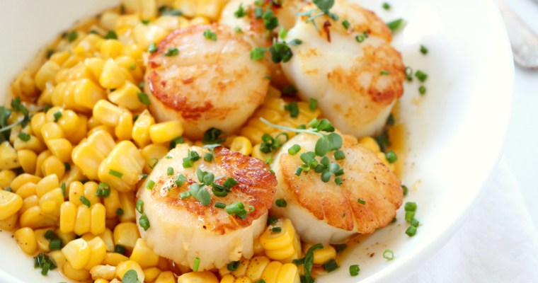Seared Scallops with Roasted Corn and Chive Butter