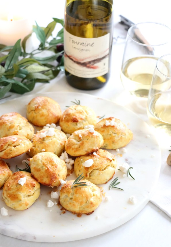 Rosemary Goat Cheese Gougères + Loire Valley Wines