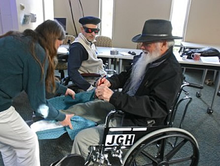 Phillip Morley and Bill Miller receive simulated impairments