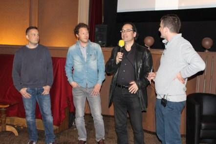 Interne Vorvisionierung im Kino Krone Burgdorf. Markus Altenberger (Grading, Retusche), Simon Häberli (Grafik), Robert Israel (Musik) und Raff Fluri.