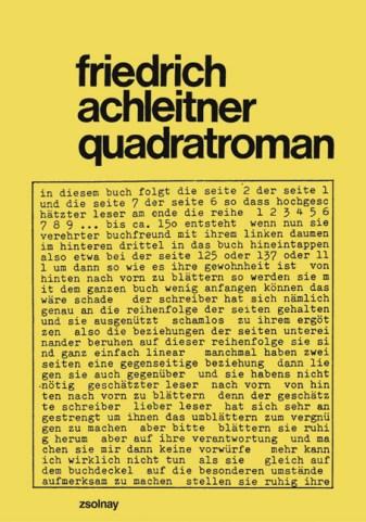 Friedrich Achleitner. Quadratroman, Salzburg ; Wien : Residenz-Verlag, 1995