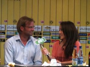 BVB-Trainer Jürgen Klopp im Presseraum von Borussia Dortmund