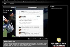 Auf der Homepage von Tommy Haas ist das Twinterview verlinkt. Foto: Screenshot