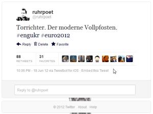 Mein Tweet  (als Fußballfan) zum Thema Torrichter während des EM-Spiels zwischen England und der Ukraine.