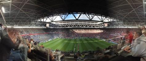 Die Duesseldorfer Esprit Arena beim Spiel der Fortuna gegen Borussia Moenchengladbach. Foto: David Nienhaus