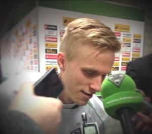 Borussia Mönchengladbachs Oscar Wendt durchlebte gegen Fürth ein Wellenbad der Gefühle. Foto: David Nienhaus