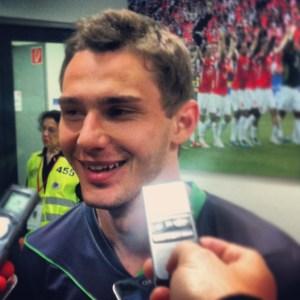 Gladbachs Matchwinner Branimir Hrgota nach seinen drei Toren in Mainz. Foto: David Nienhaus