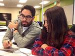 Instructor Jesse Valdez and prospective student Bella Prospero