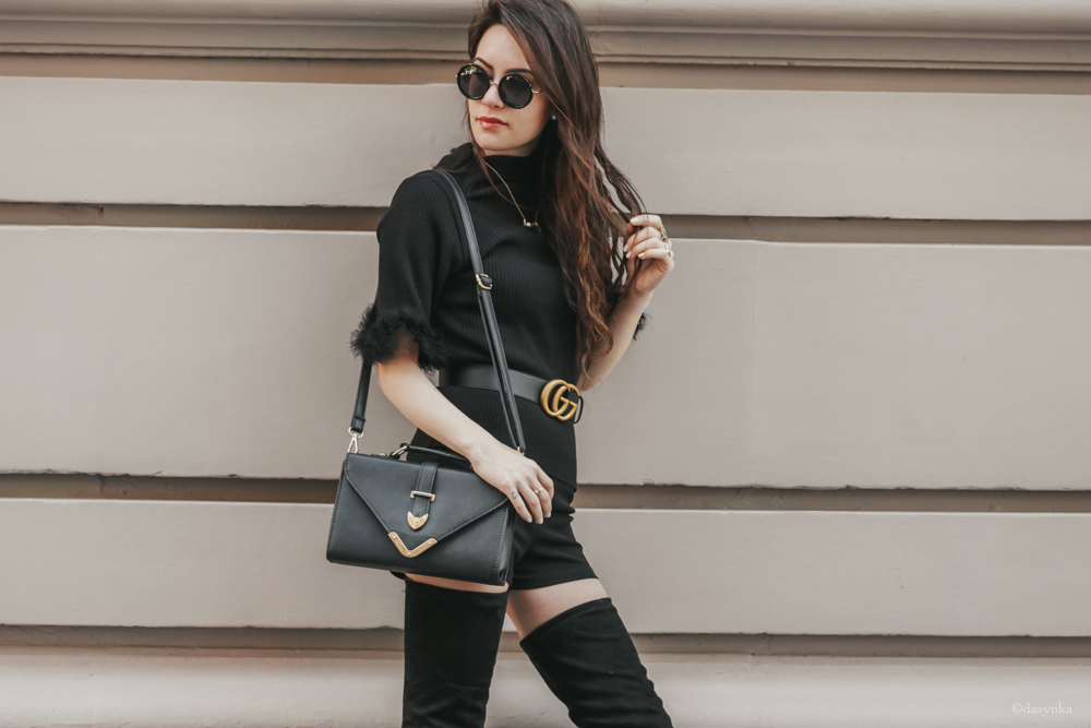 dasynka-fashion-blog-blogger-influencer-inspiration-shooting-model-globettrotter-travel-girl-lookbook-instagram-long-hair-street-style-casual-italy-lifestyle-outfit-poses-total-black-gucci-belt-high-boots-heels-bag-shorts-sunnies-sunglasses-overtheknee-overknee